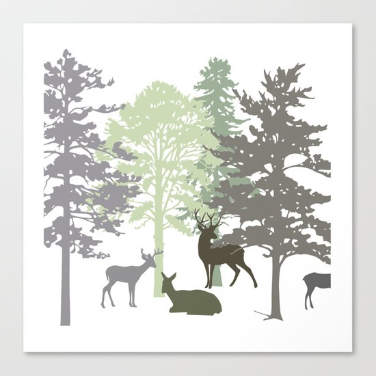 Morning Deer In The Woods No. 1 Canvas Print
