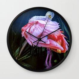 Spoonbill Fandance Wall Clock