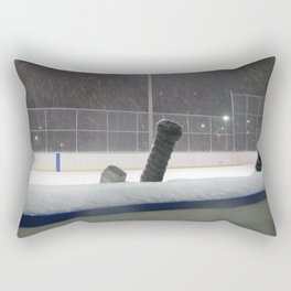 Hockey rink in the snow Rectangular Pillow