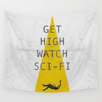 sci fi Wall Tapestries featuring watch sci-fi by alex lodermeier