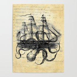 Kraken Octopus Attacking Ship Multi Collage Background Poster