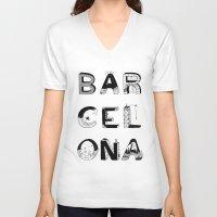 barcelona V-neck T-shirts featuring Barcelona by Anita Dinamita
