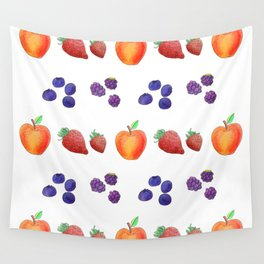 Watercolour Autumn Fruits, Strawberry, Blueberry, Apple and Blackberry Wall Tapestry