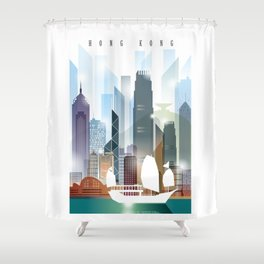 The city skyline of Hong Kong Shower Curtain