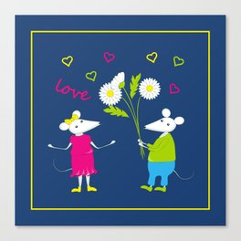 pair of white enamored mouses Canvas Print