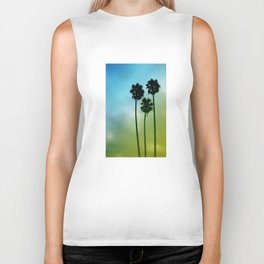 Palm Trees, Blue to Yellow Fade Biker Tank