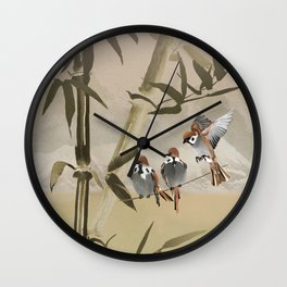 Spring Sparrows in Bamboo Tree Wall Clock