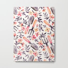 Spring Gardening - peach blossoms on cream Metal Print