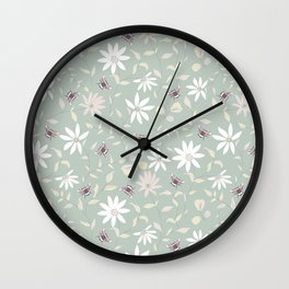 Bee and Floral Mint Wall Clock