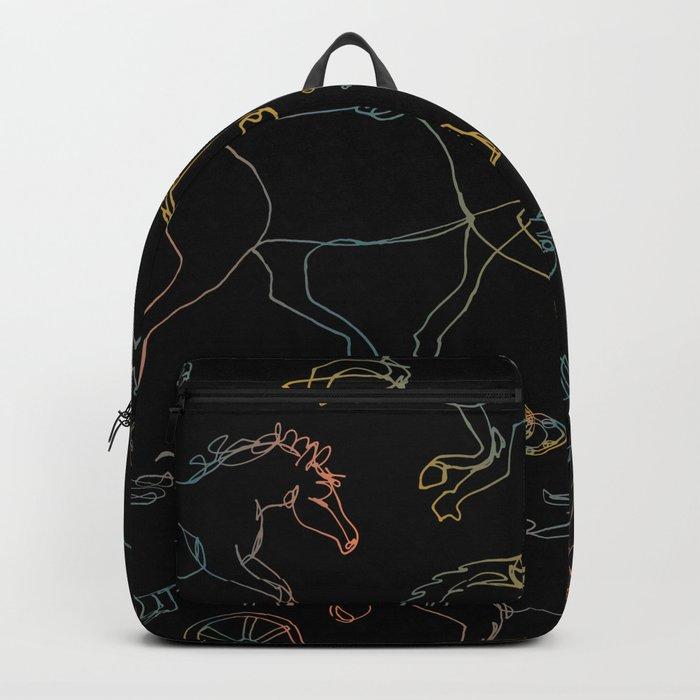 Galloping Horses, Rainbow Gradient on Black Backpack