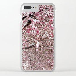 Elegant pink white nature snow cherry blossom floral Clear iPhone Case