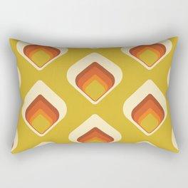 Mid-Century Modern Goldenrod Orange Cream Tear Drop Rectangular Pillow