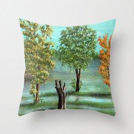 Trees and smok Throw Pillow
