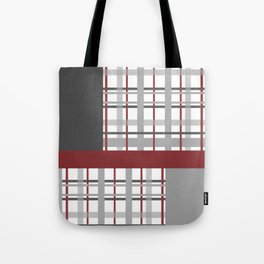 Grey Red Burgundy Checkered Gingham Patchwork Color Canvas Tote Bag