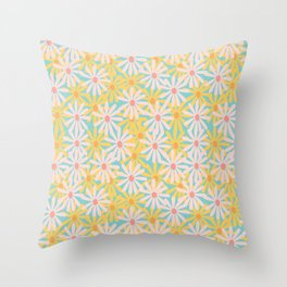 Retro Sunny Floral Pattern Throw Pillow