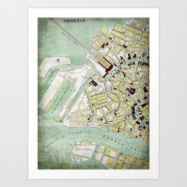 Vintage Venice historic map Italy retro travel design Art Print
