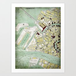 Vintage Venice historic map Italy retro travel design Art Print