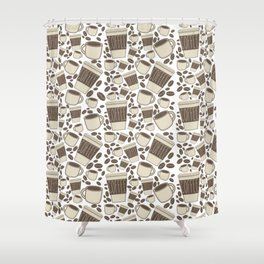 More Coffee Please: Beans Mugs & Cups Shower Curtain