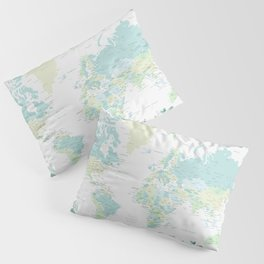 Mint and green floral world map with cities Pillow Sham