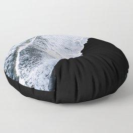 Waves crashing on a black sand beach – minimalist Landscape Photography Floor Pillow