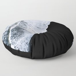 Waves crashing on a black sand beach – minimalist Landscape Photography Floor Pillow