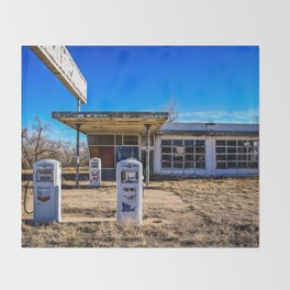 Abandoned Gas Station Throw Blanket