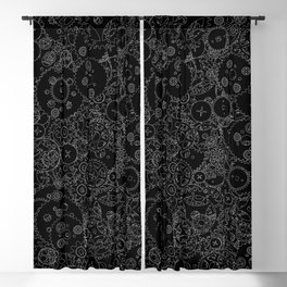 Clockwork B&W inverted / Cogs and clockwork parts lineart pattern Blackout Curtain