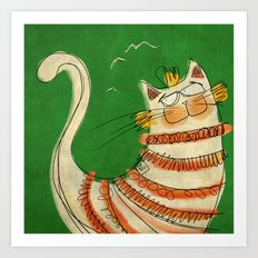 Cat - green Art Print