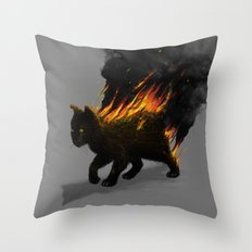 This Cat Is On Fire! Throw Pillow