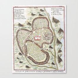 Vintage 1730 Street Map or Plan of Jerusalem Canvas Print