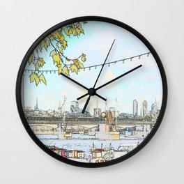 London River Scene Wall Clock