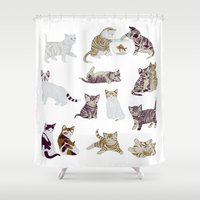 kittens Shower Curtains featuring Little Kittens by Yuliya