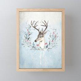 Winter deer Framed Mini Art Print