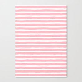 Stripes, Pink, Minimal, Scandinavian, Abstract, Pattern, Modern art Canvas Print