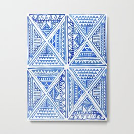 Watercolor Painting Traditional Aztec Inca Style Geometric Pattern Squares Seamless Pattern Metal Print