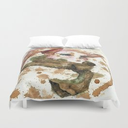 Winged Woman in Tea Duvet Cover