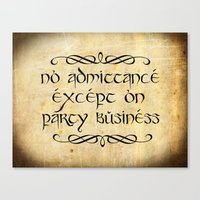 gondor Canvas Prints featuring No admittance except on party business by Augustinet
