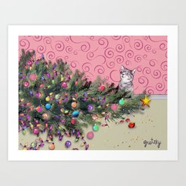 Cat knocked over the Christmas tree Art Print