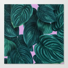 tropical green pattern on pink Canvas Print
