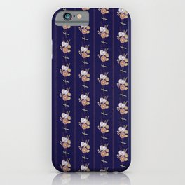 Straw Flowers and Stripes - Midnight Blue iPhone Case