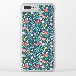 Flower Lovers - Dark Blue Clear iPhone Case