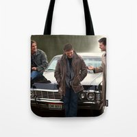 supernatural Tote Bags featuring Supernatural by Artechniq