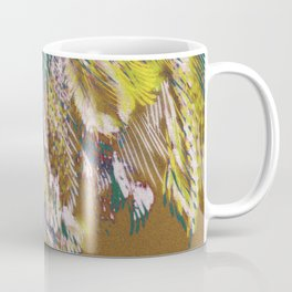 feather texture in yellow and green Coffee Mug