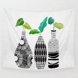 Black and White Tribal Vases Wall Tapestry