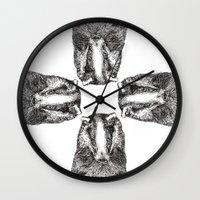 badger Wall Clocks featuring Badger by Meredith Mackworth-Praed