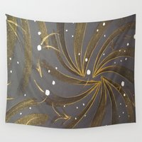 champagne Wall Tapestries featuring Gold & Champagne by Kat Dermane