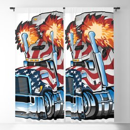 Patriotic American Flag Semi Truck Tractor Trailer Big Rig Cartoon Blackout Curtain