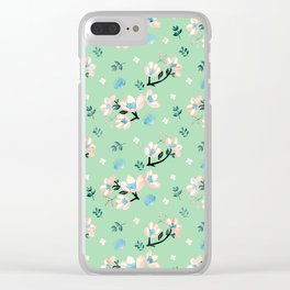 Be who you want to be - pastel flowers in mint Clear iPhone Case