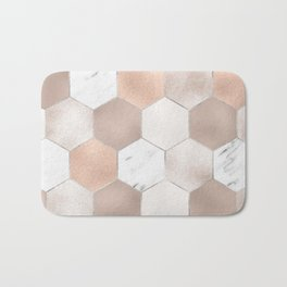Rose pearl and marble hexagons Bath Mat