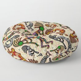 Kokopelli Rainbow Colors on Tribal Pattern  Floor Pillow